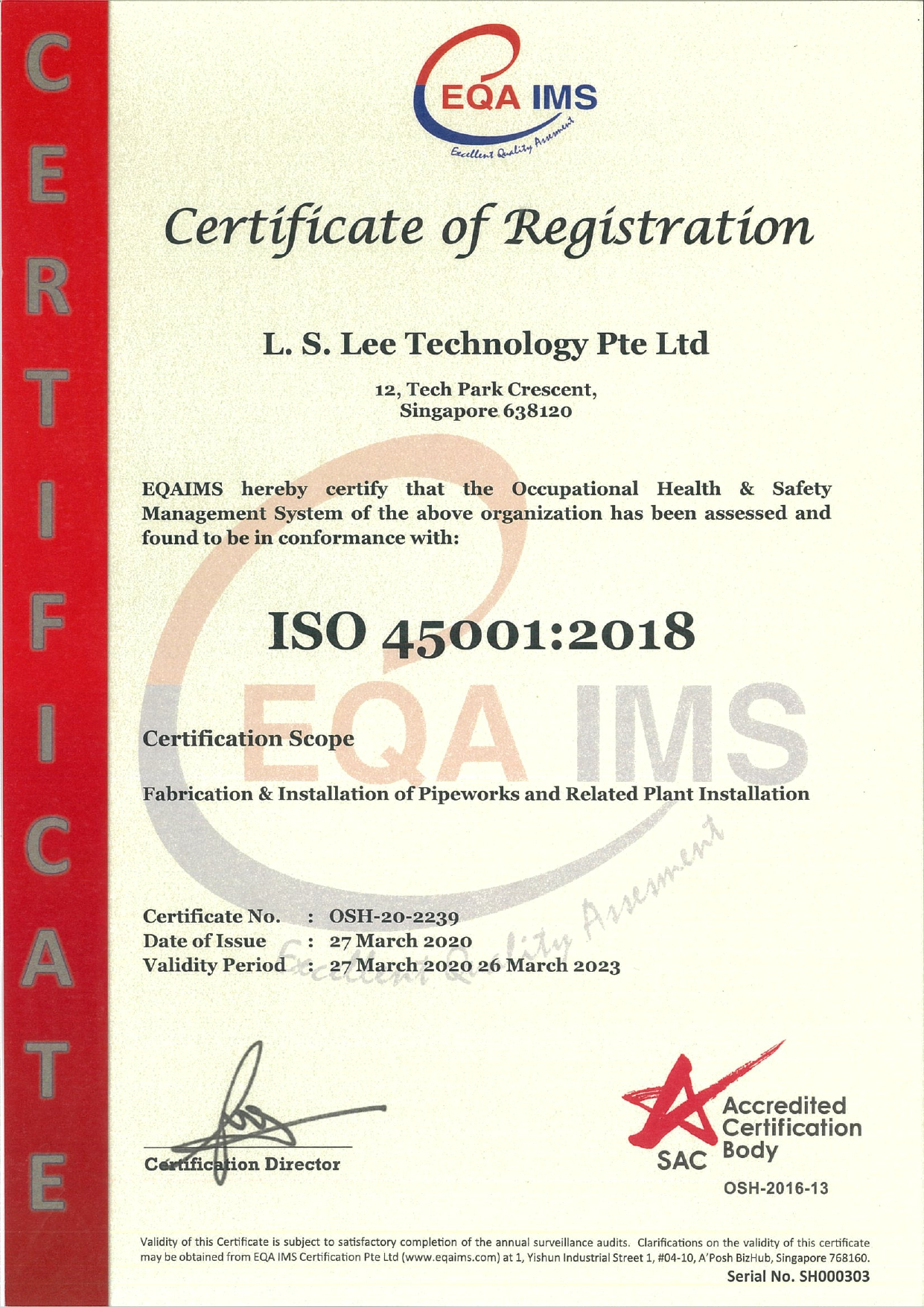 LS Lee Certifications - SWS