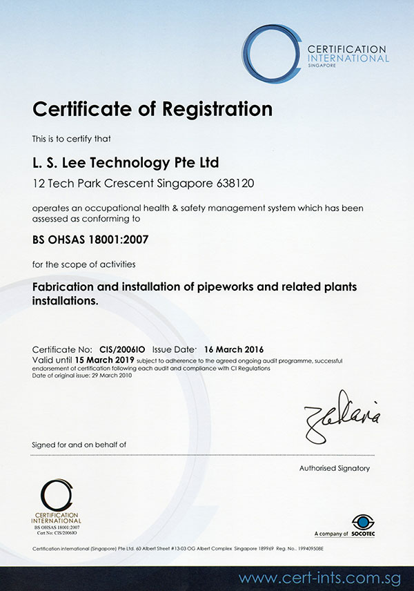 LS Lee Certifications - OHSAS