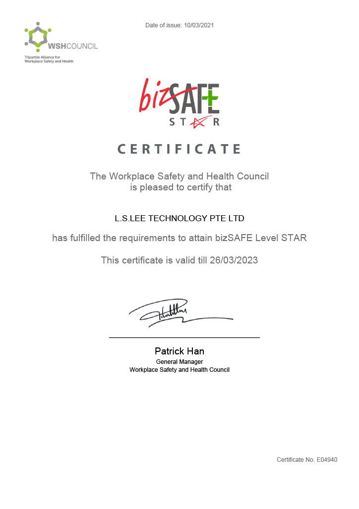LS Lee Certifications - bizSAFE STAR